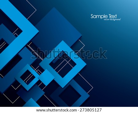 Blue Vector Background with 3D Rhombuses.