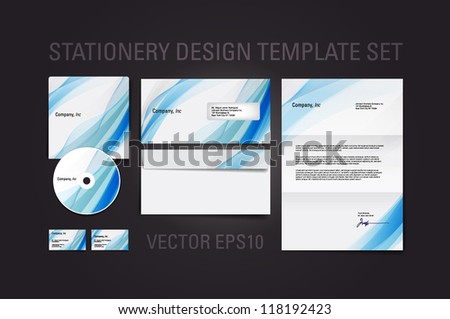 Blue vector stationery design template set