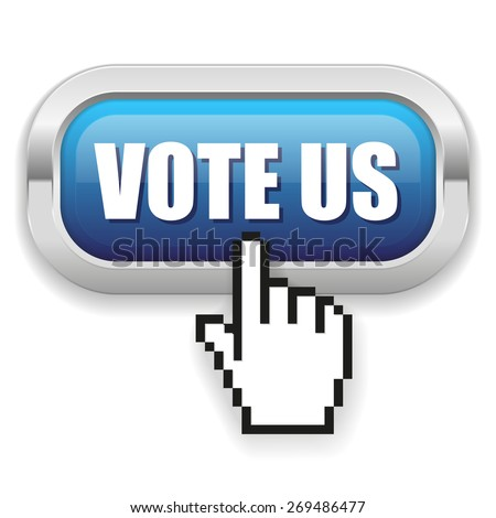 Blue vote us button with metal border on white background
