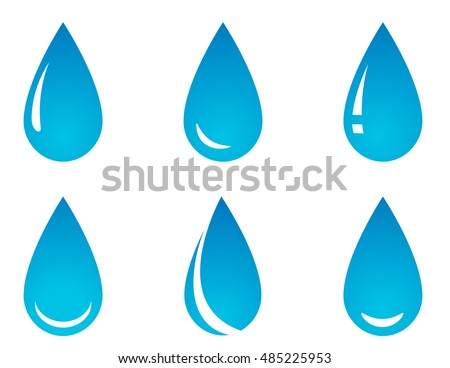 blue water droplet set on white background