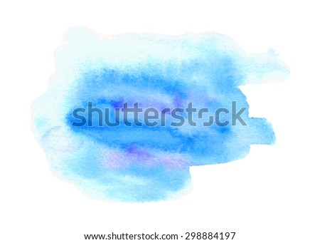 Blue watercolor hand drawn paper texture isolated spot on white background. Wet brush painted smudges abstract colorful vector illustration. Design artistic element for template, decoration, print