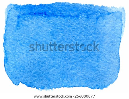 Blue watercolor paint stain painted with brush on paper, vector illustration for your design or text