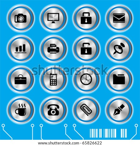 Blue website icons set. Illustration vector.