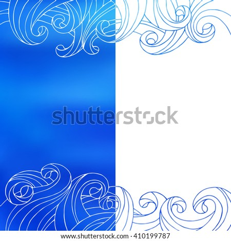 Blue white waves abstract background illustration vector