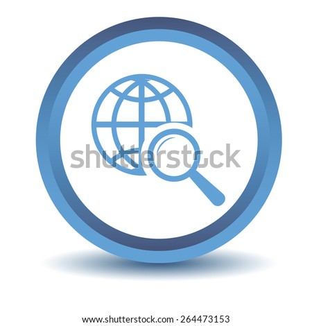Blue World scan icon on a white background. Vector illustration