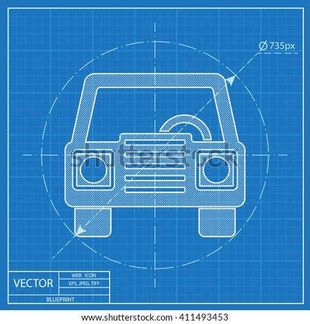 Vector blueprint toolkit icon on engineer vectores en stock blueprint icon of car front malvernweather Image collections