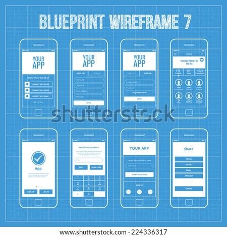 Mobile wireframe app ui kit 32 stock vector 331069682 shutterstock blueprint mobile app wireframe ui kit 7 welcome screen sign in screen sign malvernweather Gallery
