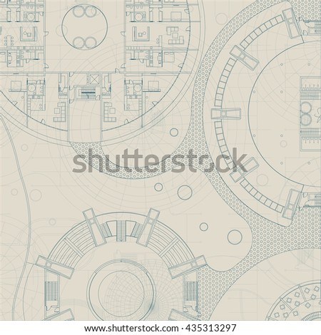 Architectural Blueprint Vector Drawing Background Stock Vector