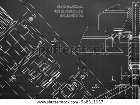 Blueprints mechanical construction engineering illustrations blueprints mechanical construction technical design cover banner black grid malvernweather