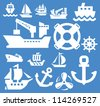 boat and ship icons set on blue - stock vector