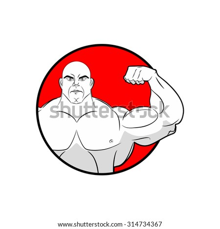 Bodybuilder with big muscles. Emblem gym. Logo for team sport athletes. Strong man shows biceps. People in  circle. Vector illustration sports