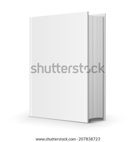 Bold blank book, perpective view on white background, vector illustration