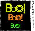 Boo text Halloween background.  Neon graphics and icons in vector format. - stock vector