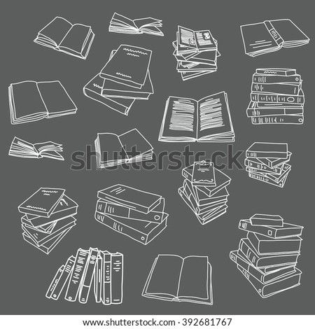 Book drawing doodle icon background illustration