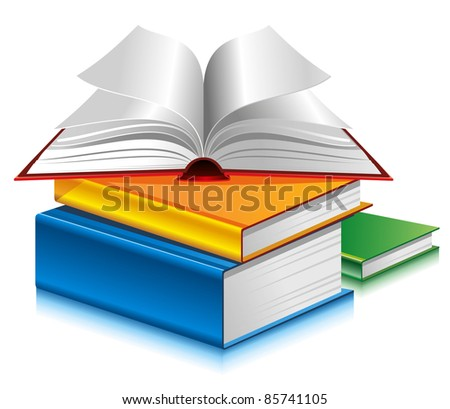 Books of different colors on white background. Vector.