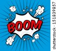boom comics icon over blue background vector illustration   - stock