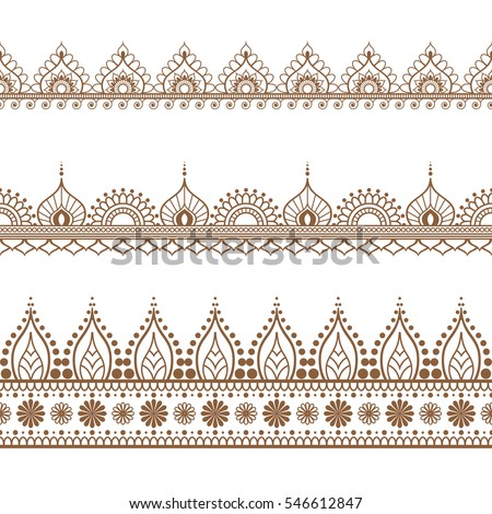 Border elements indian mehndi style card stock vector for Border lace glam