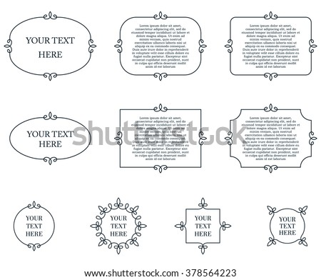 Border frames calligraphic simple line shapes vector labels