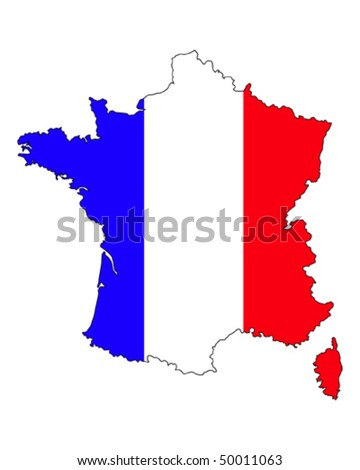 border line of country france filled with the flag of the state