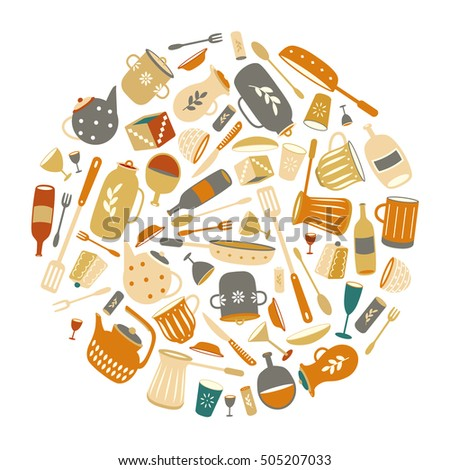 Kitchen Utensils Border set flat ware vintage kitchen utensils stock vector 501803686