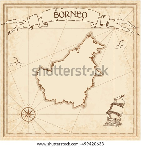 Borneo old treasure map. Sepia engraved template of pirate island parchment. Stylized manuscript on vintage paper.