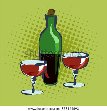 Bottle for wine and two glasses, hand drawn, pop art retro illustration.