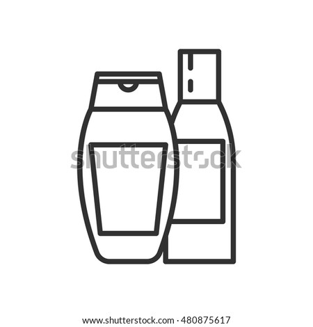 bottles of shampoo. linear icon