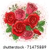 Bouquet of red and pink roses - stock vector
