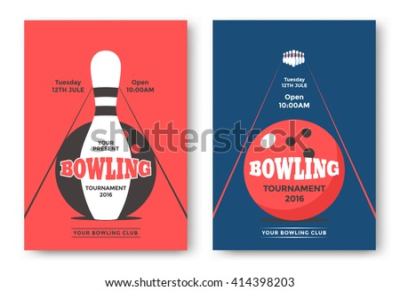 Bowling Tournament Poster Vector Template Flyer Stock Vector
