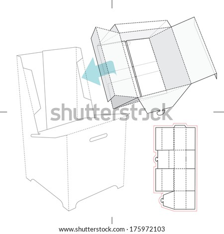 point of sale display template - curved top retail box blueprint template stock vector