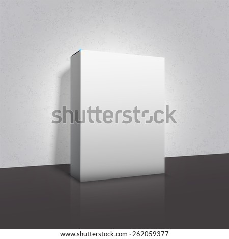 Box template white package on grey background with dark floor and reflection