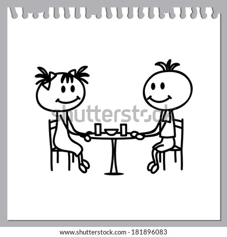 boy and girl in cafe (kids doodles)