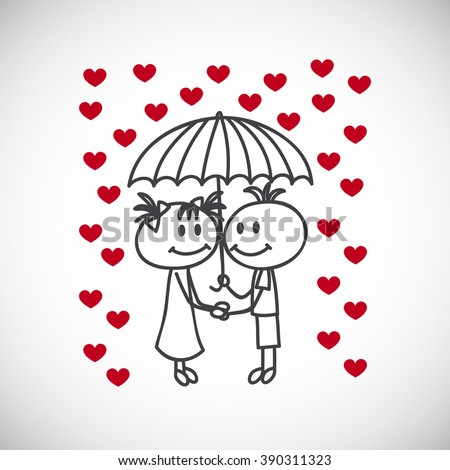 boy and girl under umbrella, cute cartoon doodles.