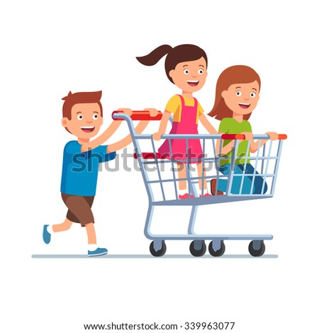 Boy and two girls playing together, riding supermarket shopping cart. Flat style vector illustration isolated on white background.