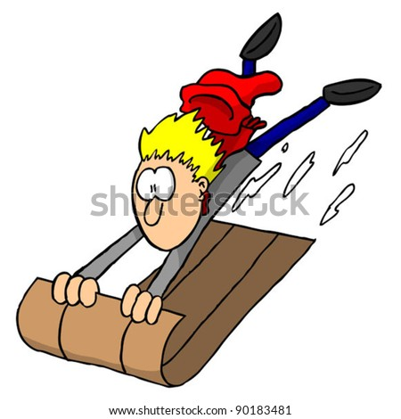 Boy going down hill at high speed on a sled (vector)