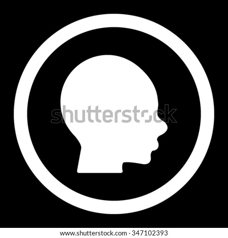 Boy Head vector icon. Style is flat rounded symbol, white color, rounded angles, black background.