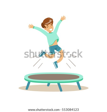 Boy Jumping On Trampoline, Kid Practicing Different Sports And Physical Activities In Physical Education Class