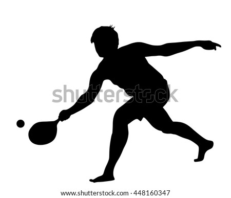 Boy playing beach tennis, ball game for beach, vector silhouette illustration.