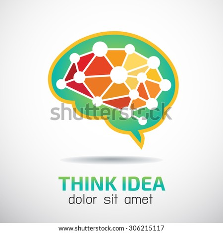 Brain Creative vector logo design template. Brainstorm idea icon. Digital Artificial intellect. Processor data computing.