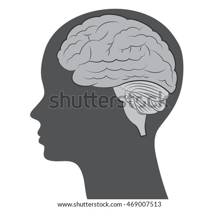 Brain detailed sketch and face silhouette vector illustration.
