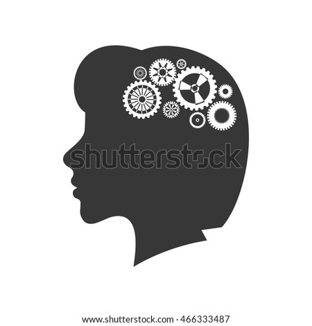 brain female gears head silhouette idea icon. Isolated and flat illustration. Vector graphic