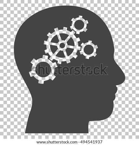 Brain Gears vector icon. Image style is a flat gray pictograph symbol.