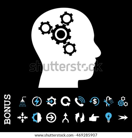 Brain Mechanics vector bicolor icon. Image style is a flat pictogram symbol, blue and white colors, black background.