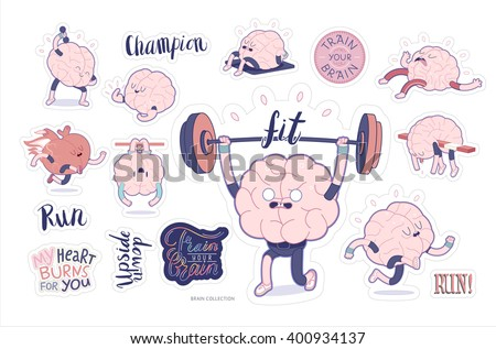 Brain stickers fitness printable set, cartoon vector isolated images with cutting path and lettering, a part of Brain collection
