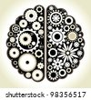 Brain with gears. the concept of logical and associative thinking man - stock photo