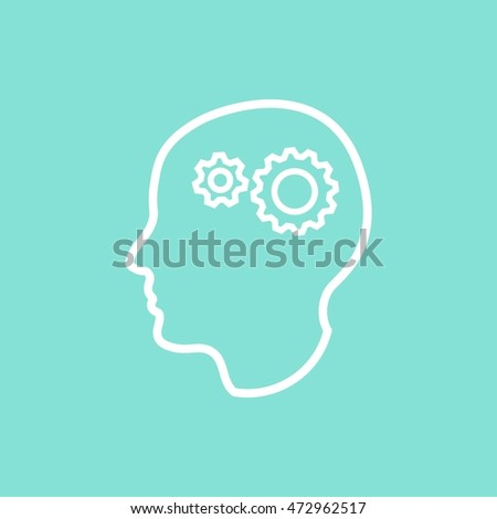 Brainstorm vector icon. White illustration isolated on green background for graphic and web design.