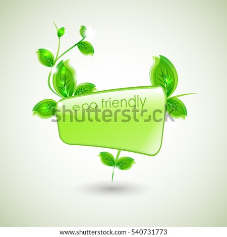 branch with fresh green leaves and green wave. Abstract ecology background.