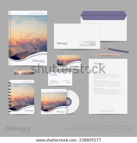 Brand identity company style template demonstrated stock vector 227867236 shutterstock - Office for mobile devices ...