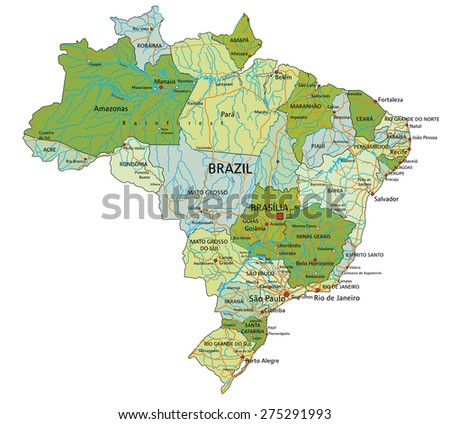 Colorful Brazil Political Map Clearly Labeled Stock Vector - Brazil political map