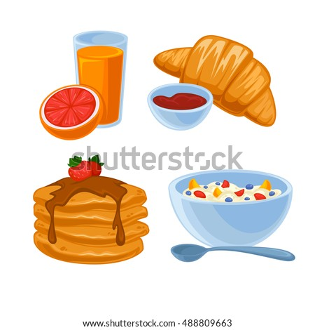 Vector Breakfast Food Set Icons Healthy Stock Vector ...